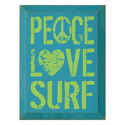Peace Love Surf  Solid Wood Wall Sign - *** FREE SHIPPING !!! ***