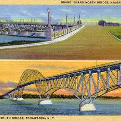 Stomping Grounds - Grand Island Bridges, Niagara Falls / Tonawanda, N.Y. - This stacked image of the impressive Grand Island bridges dates from 1935.