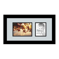ArtToFrames - ArtToFrames Collage Photo Frame  with 1 - 4x5, 5x7 Openings - This modern Satin Black, 1.25 inch thick collage frame, presents a multiple opening display for 1 - 4x5, 5x7 masterpieces of your choice. This collage is part of an array collage frame selection and boasts an ample line of durable frames at a affordable price tag you can smile about! Homespun and formed to outfit your masterpieces making sure you 1 - 4x5, 5x7 art will fit exactly so. Bordered in a vivid prominent Satin Black, sleek frame and joined by a sophisticated Baby Blue mat, the collage arrangement certainly presents your prized artwork, and most cherished memories in an entirely incredible and new way. This collage frame comes protected in Regular Glass, available with appropriate hardware and can be hung up in the blink of an eye. These superior quality and authentic wood-based collage frames change in tone and size; all in contemporary and modern design. Mats are available in a multitude of color tones, spaces, and shapes. It's time to tell your story! Preserving your memories in an original and brilliant contemporary way has never been easier.