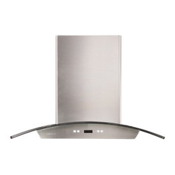 "Atlas International Inc - Euro Stainless Steel Range Hood 30"" - Cavaliere, Island Mount - Cavaliere Stainless Steel 218W Island Mounted Range Hood with 6 Speeds, timer Function, LCD Keypad, Aluminum Grease Filters, and halogen lights."