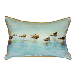 Betsy Drake - Betsy Drake Avocets Pillow- Indoor/Outdoor - Avocets Pillow- Large indoor/outdoor pillow. These versatile pillows are equal at enhancing your homes seaside decor and adding coastal charm to an outdoor setting arrangment. They feature printed outdoor, fade resistant fabric for years of wear and enjoyment. Solid back, polyfill. Proudly made in the USA.