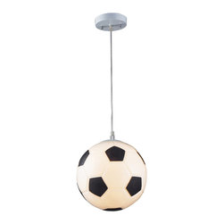 Elk Lighting - Elk Lighting Novelty Soccer Ball Pendant Light X-1/3215 - You are looking for an original Modern/Contemporary Pendant Light for your entertainment area or children room? How about the Novelty Soccer Ball Collection from Elk Lighting! This lighting fixture is fun for all ages. It is meant to stir the imagination and create a lighthearted environment.