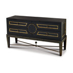 Kathy Kuo Home - Rutherford Hollywood Regency Black Gold Gilt Collector's Console Dresser - This opulent black console cabinet offers storage and style. It holds four generously-sized wood drawers with gold-finished solid brass pulls on each. Antique gold gilt trim adds a luminous accent to this onyx-finished chest of drawers. The versatile piece could also be paired with a large mirror for an oversized, glamorous vanity.