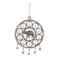 Metal Wind Chime with An Elephant Themed Design - This Metal Wind Chime with Elephant Design features a handcrafted royal elephant at its centre. Sporting a concentric circle design, this metallic piece of art has metal bells attached to links and colorful beads. A series of bells is also attached at the bottom of the metal frame of this wind chime. Reminiscent of the royal steeds of emperors of bygone eras, this elephant-themed wind chime is sure to add an authentic rustic and traditional charm to your home or office. When hung up, these bells give out sweet tinkling sounds when disturbed by the breeze. Made from rustproof and strong metal along with metal chains and links, you can hang this wind chime up anywhere without having to worry about it falling down or succumbing to the adverse effects of weather. Consider it a work of art or a good luck charm, this wind chime is a must-have in your collection.. It comes with a dimension: