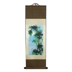 Oriental-Decor - Robust Bamboo Chinese Print Scroll - A beautiful scene of green bamboo in the foreground of a brilliant blue sky sets the scene of this magnificent Chinese print scroll. This piece will be ideal for adding a slash of color and Asian-themed decor to any spot in your home or business.