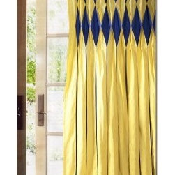 Sandy Wilson IT Curtain Panel - Eye-popping double rows of diamond-shaped inverted pleating in cobalt blue enhance the upper surface of the Sandy Wilson IT Curtain Panel. Below the inverted diamond pleats, bright yellow folds with slight cobalt blue creases flow the length of the curtains. About ACG Green Group, Inc.ACG Green Group is a home furnishing company based in Irvine, California and is a proud industry partner with the American Society of Interior Designers. ACG Green features Jennifer Taylor and Sandy Wilson, their exclusive home decor lines. These two complete collections offer designer home furniture, bedding sets, dining linens, curtains, pillows, and more in classic silhouettes, original designs, and rich colors to complement your home and life.