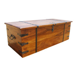 Sierra Living Concepts - Large Rustic Solid Wood Storage Trunk Coffee Table Chest - Brand New Rectangular Solid Indian Rosewood Storage Trunk. This Trunk has ample storage space for whatever you need to hide away but can find when you need it.