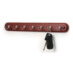 Spectrum Diversified Designs - Seven Hook Key Rack Walnut Wood Satin Nickel Hook - Organize your keys and more with the 7-Hook Key Rack. The hooks are perfect for holding keys, jewelry and other small items. A simple wood base complements the contemporary design, adding a touch of sophistication to your home. Made of sturdy steel and wood.