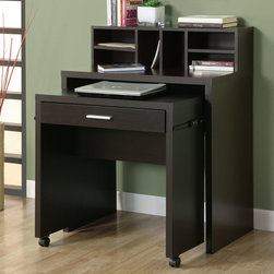 Monarch - Cappuccino Hollow-Core Spacesaver Desk With Open Storage - This versatile spacesaver desk offers an ideal computer workstation for your home. This hollow-core piece is great for smaller homes or rooms, helping you make the most of your space. The pull-out desk on casters is perfect for your laptop and the built in drawer can be used for storing office supplies. The middle shelf is a great place to keep papers and books organized, while the top hutch contains six compartments for more space. This cool computer desk will be a welcome addition to your home with its solid hardwood and veneer construction wrapped in a deep cappuccino finish, and straight, panels legs.