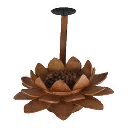 "BaliBoutique - Lotus Candle Holder - Lotus Candle Holder- Carved exclusively for Bali Boutique this delicately hand carved lotus pedal candle holder is a perfect accent piece. The lotus is known to be associated with purity, spiritual awakening and faithfulness. Made of of Sandalwood, stained Mahogany. H x 5"", W x 4""."