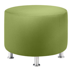 Turnstone - Alight Round Ottoman - The Alight Round Ottoman is a lightweight, sturdy ottoman that is suited equally well for home or contract use. Bright upholstery and brushed aluminum legs make it attractive. This casual ottoman is the perfect size for impromptu meetings.