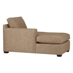 Davis Left Arm Sectional Chaise - Davis is a contemporary compact sectional designed for contemporary real life. Every imaginable configuration is possible between these modular pieces and the companion stand-alone pieces, all with firm but plump support. Upholstered in a sophisticated tonal taupe weave, they stand up to high traffic. Understated hardwood legs have a rich hickory finish. Davis sofa group also available.