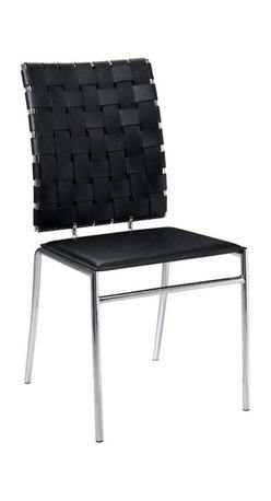 Eurostyle - Eurostyle Carina Leather Side Chair w/ Chromed Steel Base in Black [Set of 4] - Leather Side Chair w/ Chromed Steel Base in Black belongs to Carina Collection by Eurostyle Unique, fascinating, and totally versatile are just three ways to describe the Carlsen dining room chairs. These metal stackable chairs feature woven leather backs and smooth leather seats. Use them for your main dining ensemble where the family gathers for meals, or simply keep them around as extra seating when entertaining. The modern chairs have a stacking design, so they store nicely. The smooth, clean geometric shapes of ItalModern design give your rooms a trendy up-to-date look. Sold in sets of 4. Comes in black, brown or white. Assembly level/degree of difficulty: Easy. In the event of a return this item is subject to a restocking fee. Side Chair (4)
