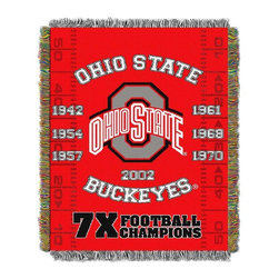 None - NCAA Big Ten Conference School Tapestry Throw - Show some school spirit with this woven tapestry throw. Use this tapestry as a room accent,bed covering,throw blanket,or wall-hanging. This tapestries measure 48 inches x 60 inches and has decorative fringes on all sides.