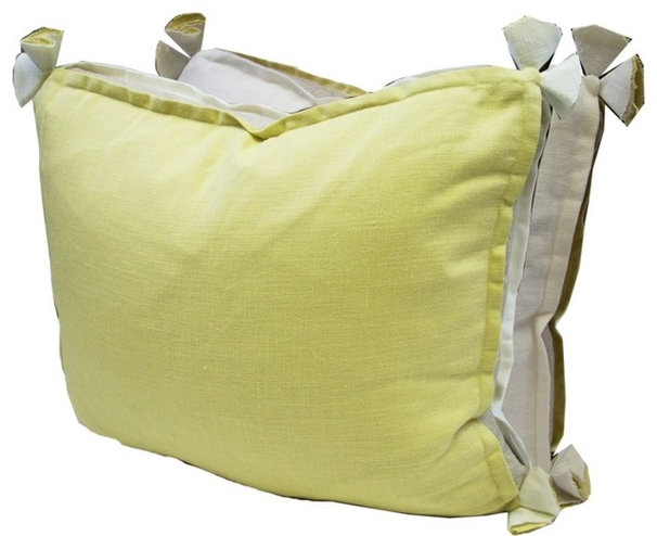 Decorative Pillows #06 Lemongrass & Oyster Linen Pillow With Tassels & Flax Gusset: Beach Decor, Co