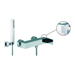 Nameeks - Fima Frattini by Nameeks S3505C Hand Shower - S3505CCR - Shop for Shower Hardware from Hayneedle.com! The Fima Frattini by Nameeks S3505C Hand Shower provides a perfect base for your hand-shower. This spout features an angular look made from solid brass and a bottom-mounted spout for easy attachment of a hose. A side-mounted lever handle allows you to control the water's temperature mix and volume easily. Scratches rust and corrosion are all prevented by your choice of finish either satin nickel or polished chrome. The handle is available with or without a brick-pattern accent made from Swarovski crystals. Product Specifications: ADA Compliant: Yes Country of Origin: Italy Drain Assembly Included: No Mounting Style: Wall Mounted Number of Holes: 2 Number of Handles: 1 Handle Style: Lever Swivel: No Valve Included: Yes About NameeksFounded with the simple belief that the bath is the defining room of a household Nameeks strives to design a bath that shines with unique and creative qualities. Distributing only the finest European bathroom fixtures Nameeks is a leading designer developer and marketer of innovative home products. In cooperation with top European manufacturers their choice of designs has become extremely diversified. Their experience in the plumbing industry spans 30 years and is now distributing their products throughout the world today. Dedicated to providing new trends and innovative bathroom products they offer their customers with long-term value in every product they purchase. In search of excellence Nameeks will always be interested in two things: the quality of each product and the service provided to each customer.