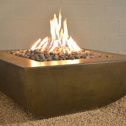 Legacy Square Fire Pit - Modern Fire pit made of GFRC in the USA. Uses Natural Gas, or Liquid Propane. Make this fire pit as the centerpiece to your modern outdoor space.