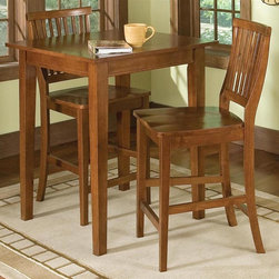 HomeStyles - 3-Pc Bistro Table Set - Includes bistro table and two stools. Made from Asian hardwood and veneer. Cottage oak finish. Made in Thailand. Table: 30 in. W x 30 in. D x 36 in. H. Stool: 22.25 in. W x 17.75 in. D x 40.5 in. H. Table Assembly Instructions. Stool Assembly Instructions