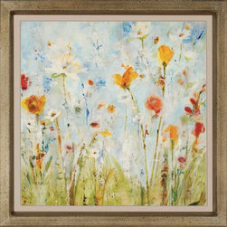 """Paragon Decor - Jounce Artwork - Brighten up those boring walls with this colorful piece, """"Jounce"""" which depicts an artist's rendering of a patch of white and saffron-gold flowers reaching unavailingly to the sun. The flowers contrast with a background of powder blues and pastel chartreuse, making them appear to layer upon the canvas. This piece measures surrounded by a thin taupe matte and an antiqued gold frame. This piece measures 41 inches wide, 2 inches deep, and 41 inches high."""