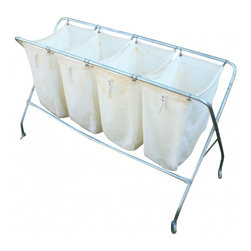 Laundry Cart - four cotton compartments with aluminum legs with rollers.