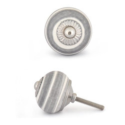 "Knobco - Ceramic Knob, Gray and White - Gray and White Base Cabinet knob, perfect for your kitchen and bathroom cabinets! The knob is 1.8"" in diameter and includes screws for installation."