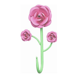 Jubilee Collection - 3 Rose Hook - Bright Pink/Green - Material: metal. 5 x 9 in.