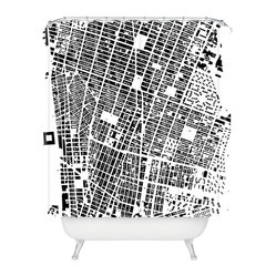 CityFabric Inc NYC White Shower Curtain - For those who live in NYC, there is no other city. This grainy, black and white bird's-eye shot of New York City streets celebrates urban life in gritty, contemporary style. It also creates a visually interesting abstract pattern, making a perfect shower curtain design for your modern bathroom.