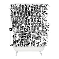 DENY Designs - CityFabric Inc NYC White Shower Curtain - For those who live in NYC, there is no other city. This grainy, black and white bird's-eye shot of New York City streets celebrates urban life in gritty, contemporary style. It also creates a visually interesting abstract pattern, making a perfect shower curtain design for your modern bathroom.