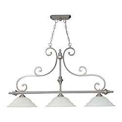 """Capital Lighting - Chandler 3-Light Island Fixture - Matte Nickel/Alabaster - Chandler 3-Light Island Fixture.  Available in Burnished Bronze finish with Mist Scavo glass or Matte Nickel with Faux White Alabaster glass.  Takes three 100W bulbs.  UL Listed.  Rated for Dry locations.  Canopy: 9"""" round.  Chain Length: 10'  Wire Length: 15'"""
