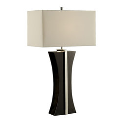 Nova Lighting - Nova Lighting Ridgeway Contemporary / Modern Table Lamp X-6400101 - From the Ridgeway Collection, add contemporary elegance to your home using this Nova Lighting contemporary table lamp. The feminine hourglass shape of the frame is accentuated by the combination of Polished Chrome and Gloss Black finishes. It also features a rectangular diffuser for an unexpected but welcomed finishing touch.