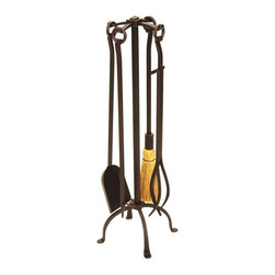 Achla - Rustic Wrought Iron Toolset - Roman Bronze - Rousing an image of a quaint and cheery fireplace, this complete tool set can easily transform any hearth.  Indeed, the four-legged stand and four tools have been constructed from rustic wrought iron and treated with a durable Roman bronze powder coat finish. * Wrought iron construction. Roman Bronze powdercoat finish. Set includes tongs, poker, broom, shovel and stand