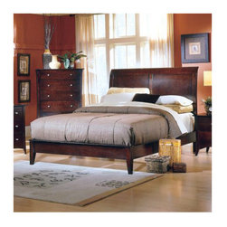 Woodbridge Home Designs - Corinna Panel Low Profile Bed - This contemporary, merlot finished bed features a unique curved side design. It is constructed of cherry veneers and selected hardwoods with brushed steel hardware. Features: -Brushed steel hardware.-Curved sleigh headboard design.-Box spring required.-Cherry veneers and solid wood construction.-Espresso finish.-Distressed: No.-Powder Coated Finish: No.-Gloss Finish: No.-Finish: Merlot.-Frame Material: Wood; Manufactured wood -Frame Material Details: Rubber wood and MDF..-Solid Wood Construction: No.-Upholstered: No.-Number of Items Included: 3.-Non Toxic: Yes.-Scratch Resistant: No.-Joinery Type: Groove.-Mattress Included: No.-Recommended Mattress Height: 8.-Box Spring Required: Yes -Boxspring Included: No.-Recommended Boxspring Height: 6.-Boxspring Profile Maximum: 8.-Boxspring Profile Minimum: 6..-Headboard Storage: No.-Footboard Storage: No.-Underbed Storage: No.-Mattress Profile Maximum: 6.-Mattress Profile Minimum: 6.-Combined Mattress and Boxspring Maximum Height: 6.-Slats Required: Yes -Number of Slats Required: 3.-Slats Included: Yes..-Center Support Legs: Yes.-Adjustable Headboard Height: Yes.-Adjustable Footboard Height: No.-Wingback: No.-Trundle Bed Included: No.-Attached Nightstand: No.-Cable Management: No.-Built in Outlets: No.-Lighted Headboard: No.-Finished Back: No.-Reclaimed Wood: No.-Number of Center Support Legs: 2.-Bed Rails Included: Yes.-Collection: Borgeouis.-Eco-Friendly: Yes.-Recycled Content: Yes -Total Recycled Content (Percentage): 50%.-Post-Consumer Content (Percentage): 30%.-Remanufactured/Refurbished : No..-Wood Moldings: No.-Canopy Frame: No.-Hidden Storage: No.-Jewelry Compartment: No.-Weight Capacity: 550.-Swatch Available: No.-Commercial Use: No.Specifications: -FSC Certified: No.-EPP Compliant: Yes.-CPSIA or CPSC Compliant: No.-CARB Compliant: Yes.-JPMA Certified: No.-ASTM Certified: No.-ISTA 3A Certified: No.-PEFC Certified: No.-General Conformity Certificate: No.-Green Guard Certified : No.Dimensions: -Headboard: 54'' H.-Footboard: 14'' H.-Overall Height - Top to Bottom (Size: Full): 54.-Overall Width - Side to Side (Size: Full): 58.-Overall Product Weight (Size: Full): 76.-Headboard Dimensions Height (Size: Full): 54.-Headboard Width Side to Side (Size: Full): 58.-Headboard Depth Front to Back (Size: Full): 4.-Footboard Height (Size: Full): 14.-Footboard Width - Side to Side (Size: Full): 58.-Footboard Depth - Front to Back (Size: Full): 4.-Top of Headboard to Bedframe (Size: Full): 42.-Bottom of Side Rail to Floor (Size: Full): 5.5.-Side Rail Length (Size: Full): 75.-Base of Headboard to Floor (Size: Full): 30.-Overall Height - Top to Bottom (Size: King): 54.-Overall Width - Side to Side (Size: King): 80.-Overall Depth - Front to Back (Size: King): 84.-Overall Product Weight (Size: King): 123.2.-Headboard Dimensions Height (Size: King): 54.-Headboard Width Side to Side (Size: King): 80.-Headboard Depth Front to Back (Size: King): 4.-Footboard Height (Size: King): 14.-Footboard Width - Side to Side (Size: King): 80.-Footboard Depth - Front to Back (Size: King): 4.-Top of Headboard to Bedframe (Size: King): 42.-Bottom of Side Rail to Floor (Size: King): 6.-Side Rail Length (Size: King): 80.-Base of Headboard to F