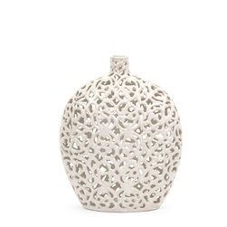 Small White Lace Pattern Vase - *Lace pattern and texture are featured in a crisp, matte white finish over the small Lacey vase.