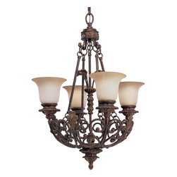 Progress Lighting - Progress Lighting P4191-75 Messina Four Light Chandelier In Aged Mahogany - The four-light chandelier in the hand-painted Aged Mahogany finish of the Messina collection incorporates decorative leaves, scrolls and intricate details with sepia haze glass.