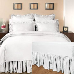 Home Decorators Collection - Home Decorators Collection Ruffled Bedskirt - Our elegant Home Decorators Collection Ruffled Bedskirt is made of 100% cotton sateen. It has a ruffled drop with 600 thread count with a platform of 30 sheeting cotton. The luxurious look of this bedskirt will give any room a warm, cozy look that works well with any design style. Order today. 600 thread count. Platform is made of 30 sheeting cotton. Available in a variety of colors.