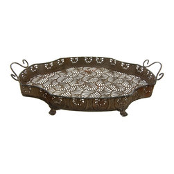 Oriental Furniture - Wrought Iron Decorative Clover Plate - This stylish iron tray is perfect for serving tea and snacks to your guests at any indoor or outdoor gathering. The lightweight tray has an old fashioned look complete with beautiful faux-rust patina and period details including ornate lion feet, an intricate leaf patterned base, and a gorgeous decorative trim.