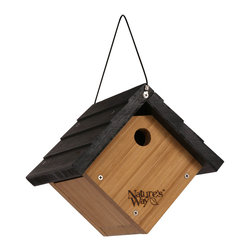 Nature's Way - Bamboo Wren Hanging House - Traditional Wren House is made of solid cross-ply bamboo and stainless steel screws. This house features extra air vents, clean-out doors, and a 1 inch entry hole.