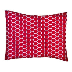 SheetWorld - SheetWorld Twin Pillow Case - Percale Pillow Case - Red Honeycomb - Made in USA - Pillow case is made of a durable all cotton percale/woven material. Fits a standard twin size pillow. Side Opening. Features a red honeycomb print.