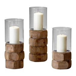 Cyan Design - Cyan Design Large Hex Nut Candleholder in Natural Wood - Large Hex Nut Candleholder in Natural Wood