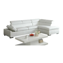 "Acme - 2-Piece Cleon Collection Modern Styling White Bonded Leather Sectional Sofa Set - 2-Piece Cleon collection modern styling white bonded leather sectional sofa with adjustable headrests and chrome legs. This set features a white bonded leather upholstery with adjustable back head rest and wide adjustable arms and chrome finish legs. Measures 115"" x 38"" D x 31"" H x 75"" Long chaise. Some assembly required."