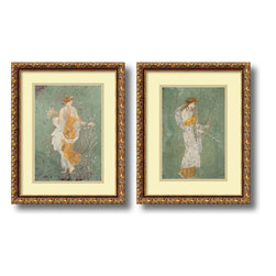 Amanti Art - Pompeian 'Primavera & Diana- set of 2' Framed Art Print 15 x 19-inch Each - Primavera & Diana are collected from ancient Pompeian frescos, this matching set provides a window into our shared heritage and history.