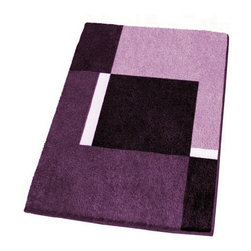 Modern Non-Slip Washable Purple Bath Rugs, Small - Non-slip bathroom rug with a thick and densely woven .79in high pile.  Our small purple bathroom rug is machine washable and offers a bold, beautiful range of colors including dark purple, medium tone purple and light purple.  Designed and produced in Germany