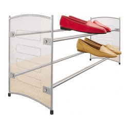 Lynk - Stackable Shoe Rack - Platinum finish. Expandable. Wide base provides stability even on thick carpets. Expands and stacks together to organize any closet space. Stable even on thick carpets. Holds shoe boxes. Extends up to 43 in.. Patent pending. Made from epoxy coated steel. Minimal assembly required. 22.5 in. W x 8 in. D x 11.8 in. H (4.13 lbs.)Lynk products offer great storage solutions for the kitchen, pantry, closet, laundry, bath and garage.