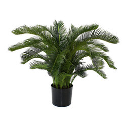 "Frontgate - Outdoor Sago Cycas Palm - 36""H - Handcrafted of the finest materials for the most realistic look possible. Trunk is polystone, covered with rustic realistic wood. Plastic leaves and branches. Arrives in a plastic liner filled with Plaster of Paris, ready for your decorative container. UV resistant, so the color will never fade. Our Jumbo Sago Cycas Palm is a larger version of the Baby Cycas Palm, and is just as delicate looking, strong and durable. This maintenance-free, lifelike plant features shiny, dark green leaves on a thick shaggy trunk.  .  .  .  .  . Easy to shape to your liking, with instructions included with each plant ."