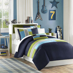 Mi-Zone - Mizone Switch 4-piece Casual Stripe Printed Polyester Comforter Set - A modern four-piece comforter set adds a casual, urban flair to a bedroom. The Mizone Switch twin-size set includes a comforter, sham, and pillow, while the queen has two shams. The handsome navy, khaki, and green microfiber fabric is machine washable.