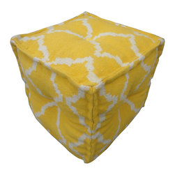 """Jaipur Rugs - Yellow/Ivory Handmade 100% Cotton Pouf (16""""x16""""x16"""") - The Cadiz collection is a modern collection of square poufs hand woven from 100% cotton. The  casual pouf collection uses strong simple geometrics in bold colors and can be easily  coordinated with the Jaipur Urban Bungalow and Maroc flat weave rug collection."""