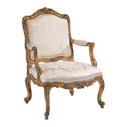 "Inviting Home - Louis XV Armchair - Louis XV style carved wood armchair; overall dimensions: 27""W x 24-1/2""D x 41""H; seat is 27""W x 24-1/2""D x 18""H; back is 41""H; arms are 26-1/4""H; hand-crafted in Italy; Louis XV style carved wood upholstered armchair with ivory damask upholstery and heavily distressed gold leaf finish. This upholstered armchair is made in Italy."