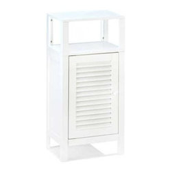 """Nantucket - nantucket shelf cabinet - Don't hide those lovely towels and soaps!  This """"decorator's dream"""" bathroom cabinet comes complete with a storage compartment at bottom and an open shelving system on top for display or easy access.  MDF wood with lacquer.  Some assembly required."""