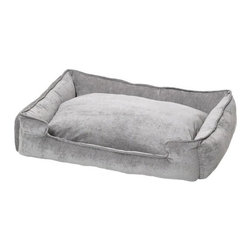 "Jax and Bones - Micro-Velvet Lounge Dog Bed in Platinum - Features: -Dog bed. -10000 double rub micro velvet fabric. -Sustainafill allergy-free eco-friendly fiber filling. -Hides shedding hair. -Removable and machine washable cover. -Great choice for any home. -Proudly made in the USA. -Platinum fabric. -Available in four sizes. Specifications: -Small dimensions: 7"" H x 18"" W x 24"" D. -Medium dimensions: 10"" H x 27"" W x 32"" D. -Medium / large dimensions: 10"" H x 32"" W x 39"" D. -Large dimensions: 12"" H x 40"" W x 48"" D."
