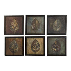 Uttermost New Leaf Framed Panel Set/6 - Frames have a medium brown undertone with heavy black distressing. . These oil reproductions feature a hand applied brushstroke finish. Frames have a medium brown undertone with heavy black distressing. Each print is 14x14.